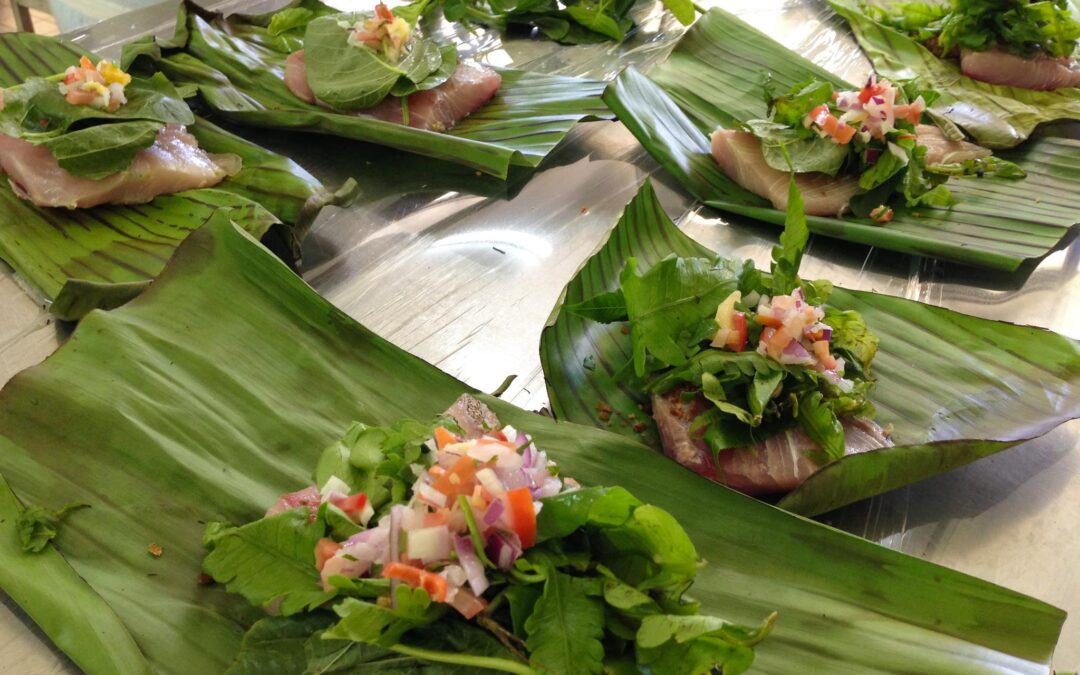 STEAMED BANANA LEAF-WRAPPED FISH WITH SCORCHED COCONUT